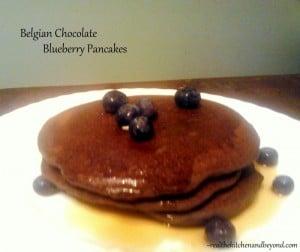 belgian chocoalte blueberry pancakes