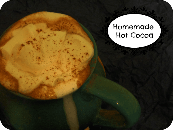 Homemade Hot Cocoa, easy and perfect now that fall has made its appearance. Snuggle up with a good book or show and sip this rich thick hot coca with a dollop of homemade whipped cream or scoop of your favorite ice cream. #hotcocoa ~ realthekitchenandbeyond.com