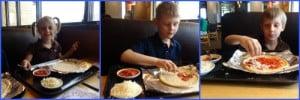 Kids ake their own pizzas at California Pizza Kitchen