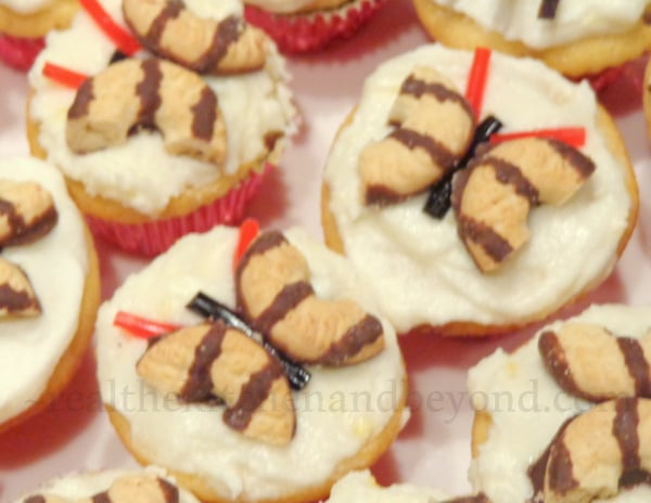 Butterfly and and Spider topped cupcakes make a perfect preschool party treat