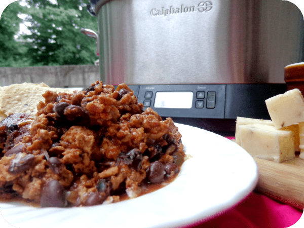 Southwestern Chili Dip #slowcooked to perfection in my new #Calphalon 7 quart slow cooker. Enough to spicy deliciousness to feed a crowd. #pinterestfoodies