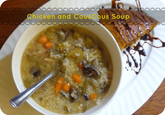 Chicken CousCous Soup ~ an easy fall soup that uses up my inexpensive boxes of couscous and delivers that perfect fall comfort food on a chilly evening ~ realthekitchenandbeyond.com