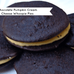 A twist on the classic whoopie pie the dark chocolate cookie is finished off perfectly with a creamy pumpkin cream cheese filling, perfect for a fall dessert