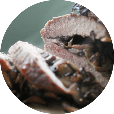 Mushroom Stuffed London Broil | Cast iron cooking