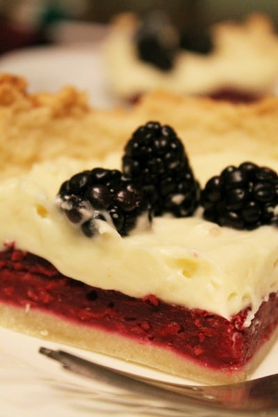 White chocolate mousse and blackberry tart