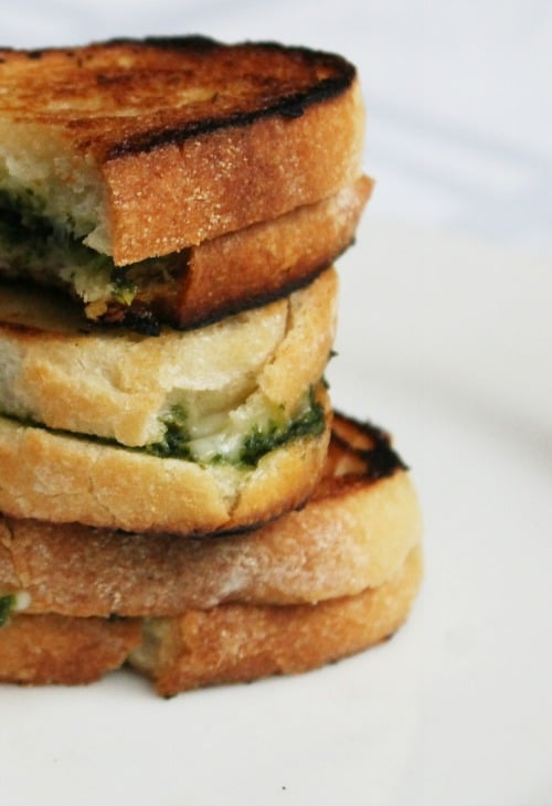 Nut-free Kale Pesto and 6 Cheese Grilled Cheese