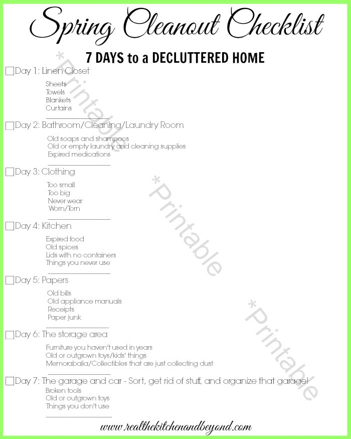 Printable 7 Days to Decluttered Home = Real: The Kitchen and Beyond