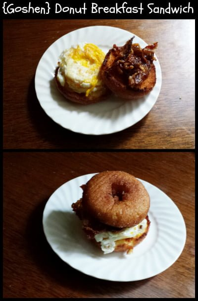 Donut Breakfast Sandwich - open and closed
