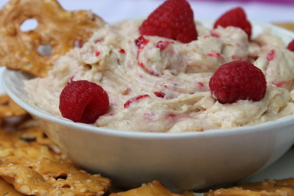 Lemon Raspberry Cheesecake Cookie Dough Dip with Pretzel Crisps