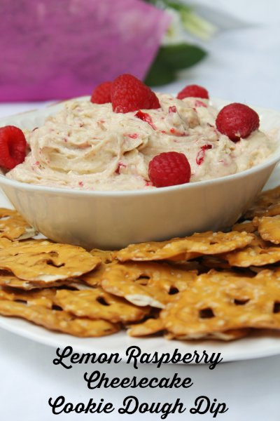 Lemon Raspberry Cheesecake Cookie Dough Dip