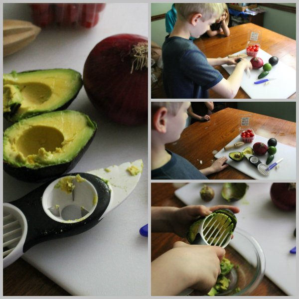 using an oxo avocado slicer to prep avocado for guacamole