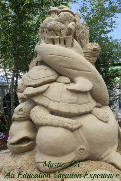 sand carving of sea life mystic aquarium