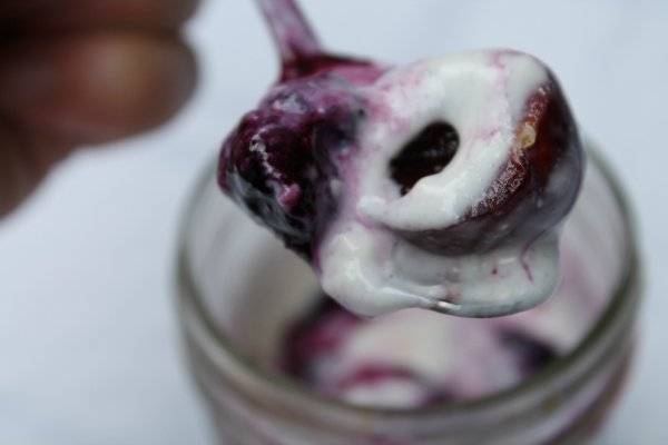 Spoonful of Cherry Blueberry Cheesecake Parfait