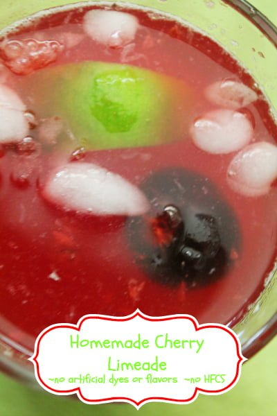 Homemade Cherry Limeade with no artificial dyes or flavors and no high fructose corn syrup