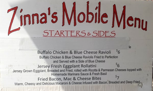 Zinna's Mobile Menu - Buffalo Chicken and Blue Cheese Ravioli