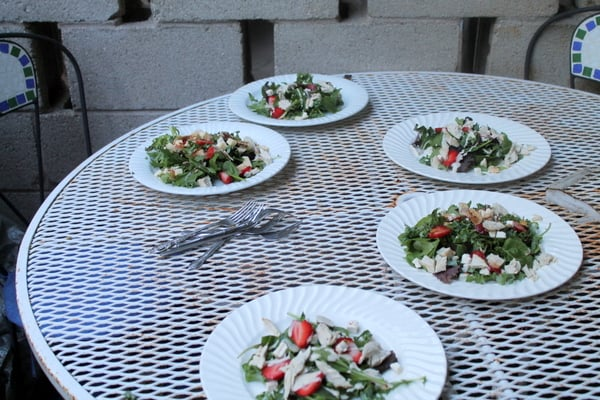 roasted chicken strawberry kale salads