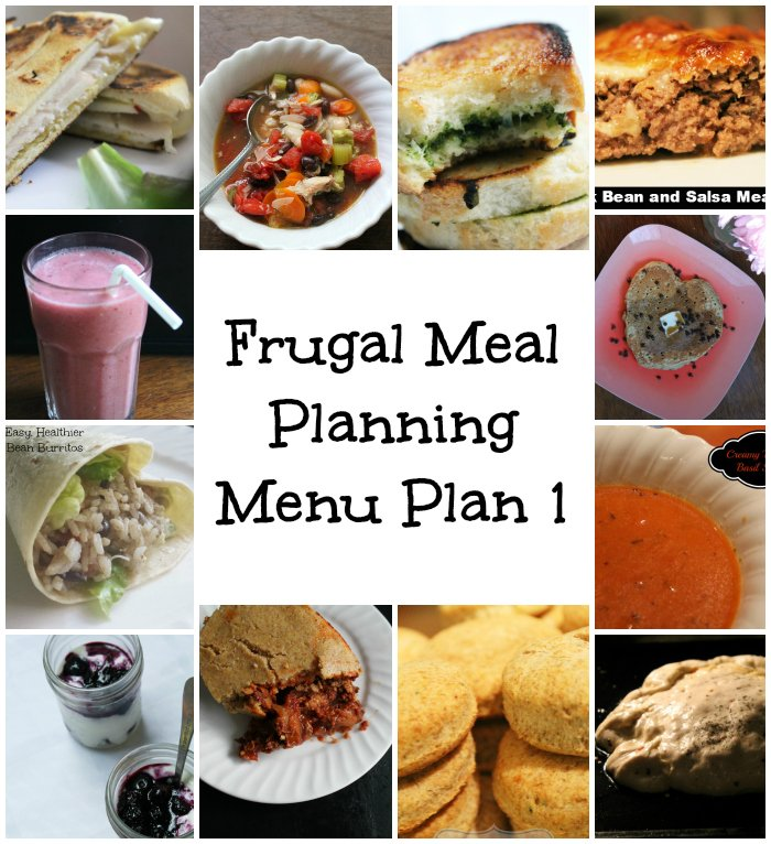 Frugal Meal Planning Menu Plan 1