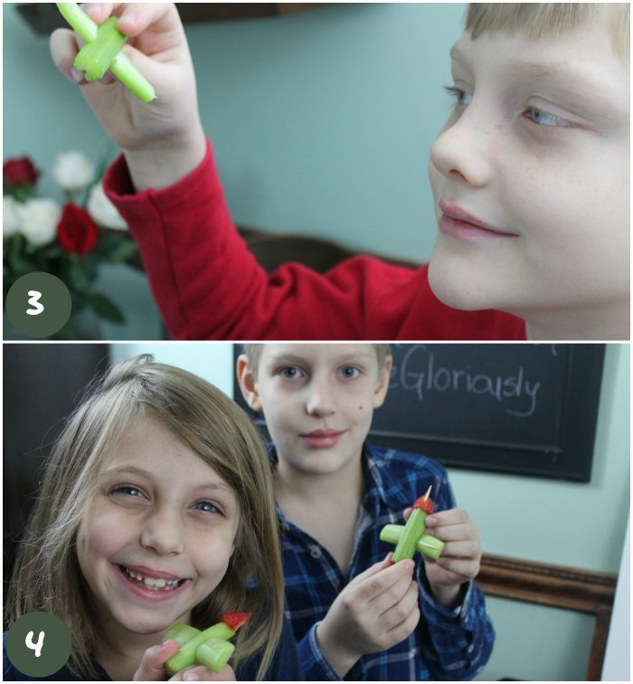 Fun with Food Celery Plane Tutorial - put toothpick through the end of the celery and stick a strawberry point on the end for the nose of the plane | www.realthekitchenandbeyond.com