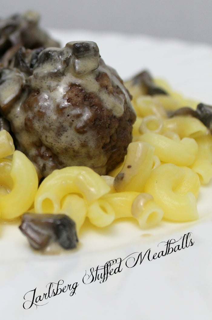 Jarlsberg Stuffed Meatballs with Mushroom Soup | www.realthekitchenandbeyond.com