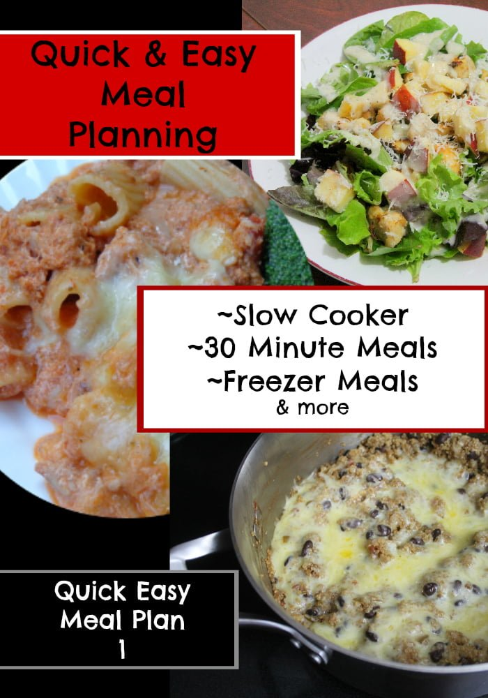 Quick Easy Meal Planning Meal Plan 1
