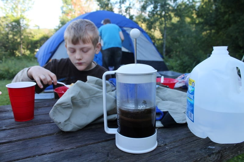 Coffee with French Press at a Campground