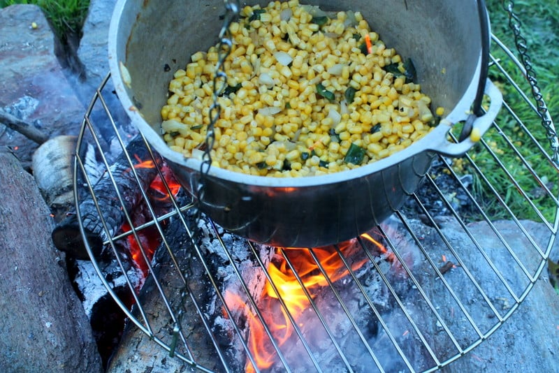 Fire Roasted Poblano Corn Soup cooking veggies
