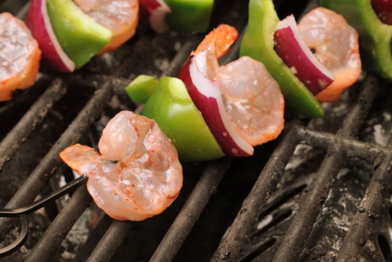 Sweet and Spicy Shrimp Kabobs on Grill