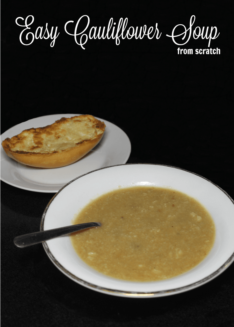 This easy cauliflower soup recipe has just a few ingredients. While it may not look beautiful it tastes good and is good for you. - cauliflower soup ingredients - onion, garlic, cauliflower