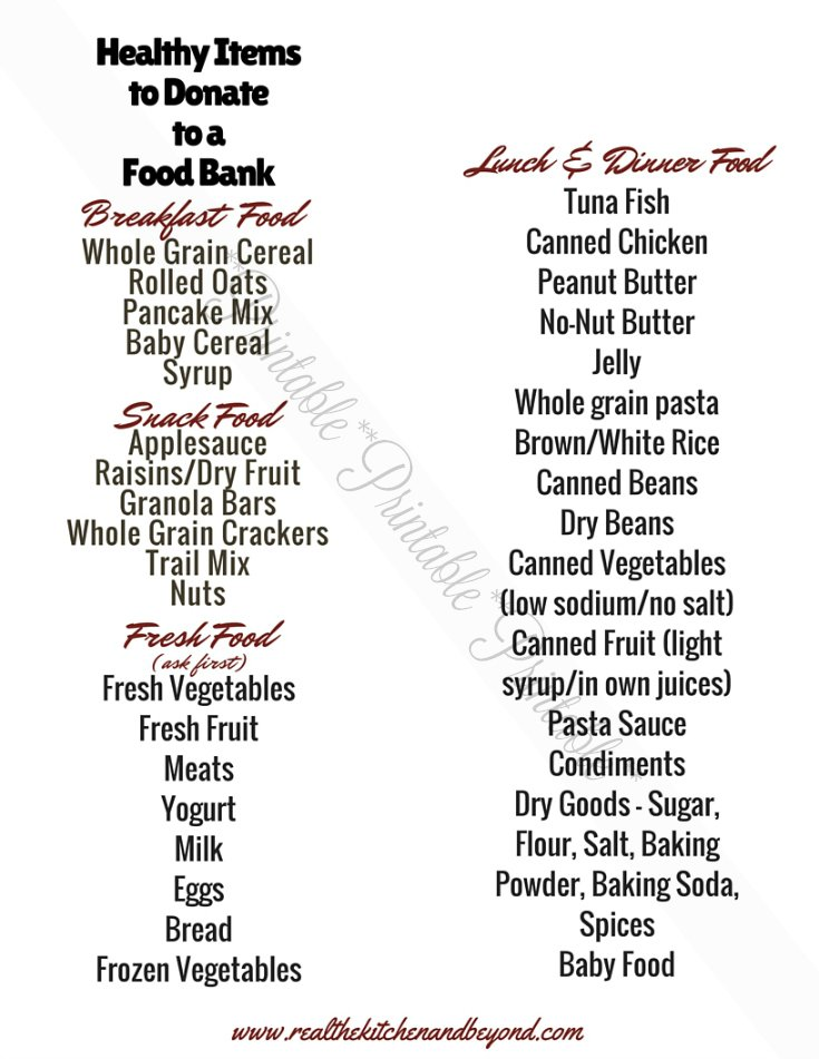 Want to donate food to the food bank but not sure what to give? Here are some healthy food items that make great donations any time of year.