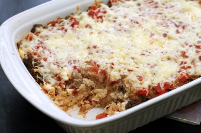 Mexican Beef and Rice Layered Casserole