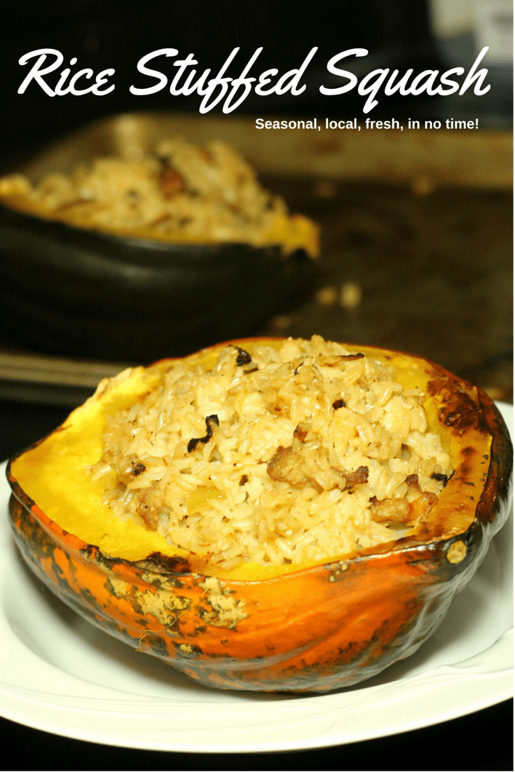 Rice Stuffed Acorn Squash Recipe in 60 minutes - seasonal, local, fresh in 60 minutes