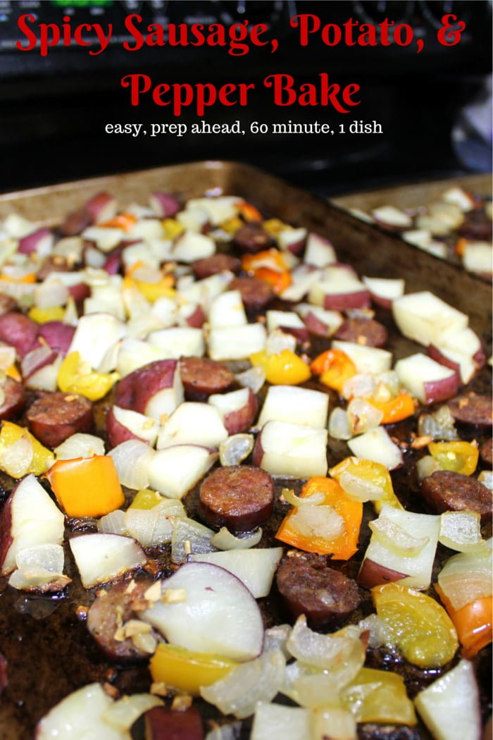 Andouille Sausage, Potato, and Pepper Bake Recipe - an easy homemade recipe you can prep ahead or throw together in no time, this one dish dinner is ready in under 60 minutes.