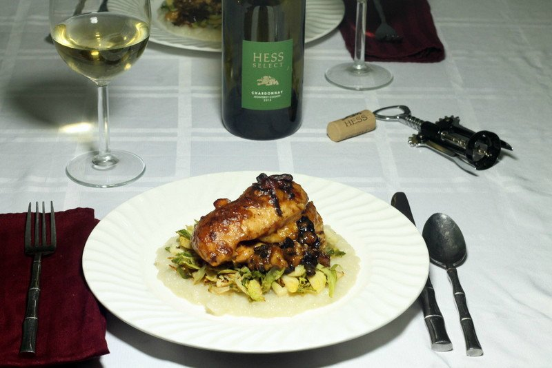 Chicken Stuffed with Brie and Mushrooms over Sautéed Brussels Sprouts and Sunchokes with Hess Collection Wine