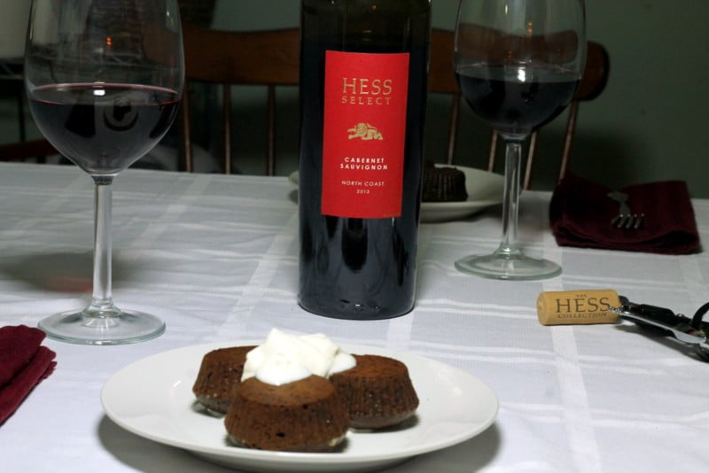 Dark Chocolate Cupcakes with Hess Collection Wine