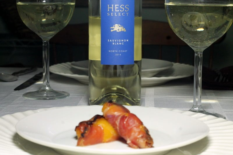 Prosciutto Wrapped Peaches with Hess Collection Wine
