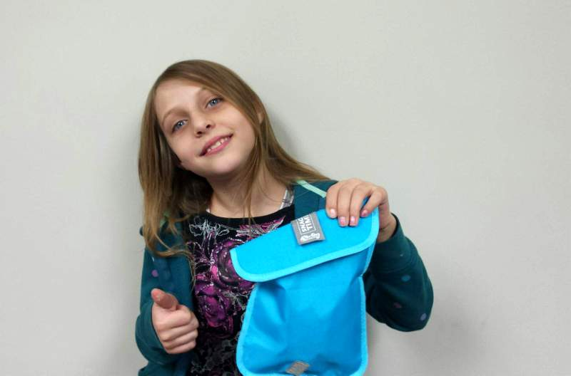 Showing off a ChicoBag Reusable Snack Bag