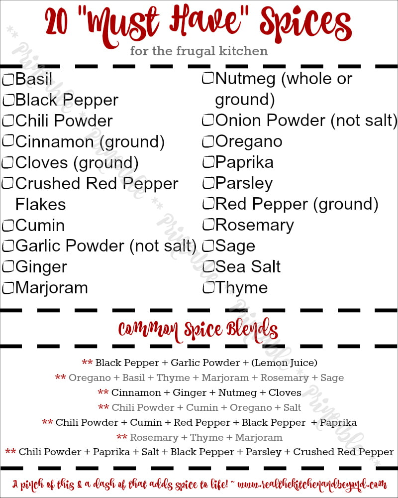 20 Must Have Spices for the Frugal Kitchen Printable
