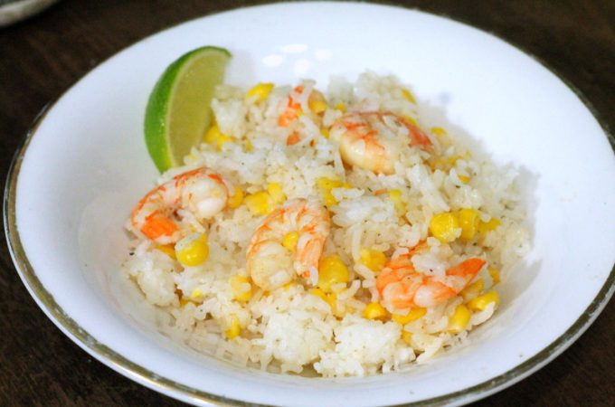 Lime Shrimp, Corn, and Rice Skillet - 15 Minute One Pot Recipe