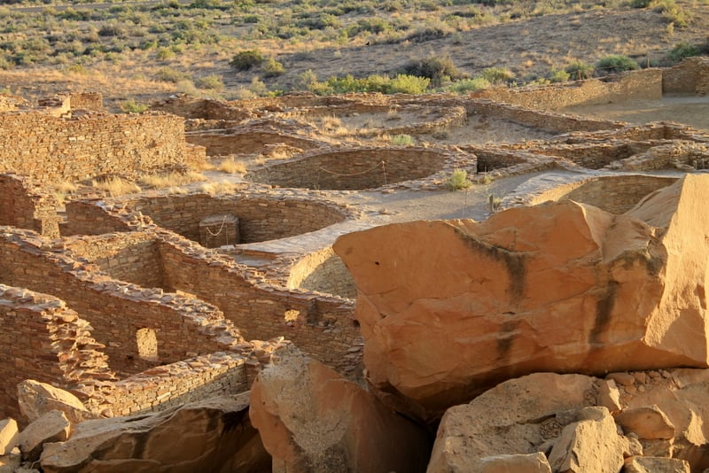 Looking down on Chaco Culture Ruins
