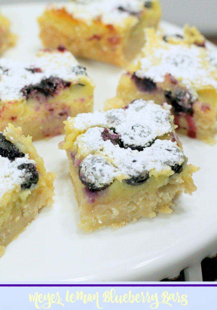 Meyer Lemon Blueberry Bar Recipe - a twist on the classic lemon bar recipe
