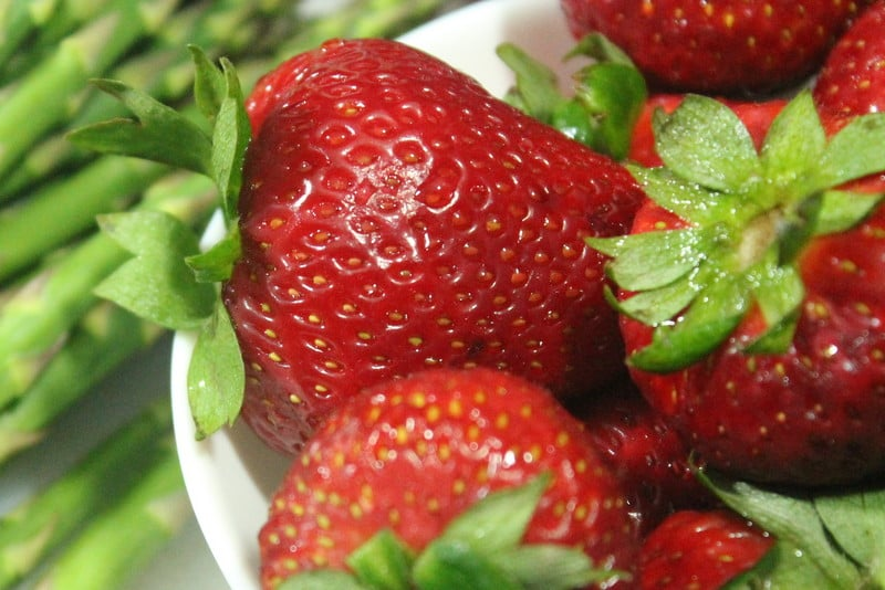 strawberries for grilled asparagus and strawberry salad