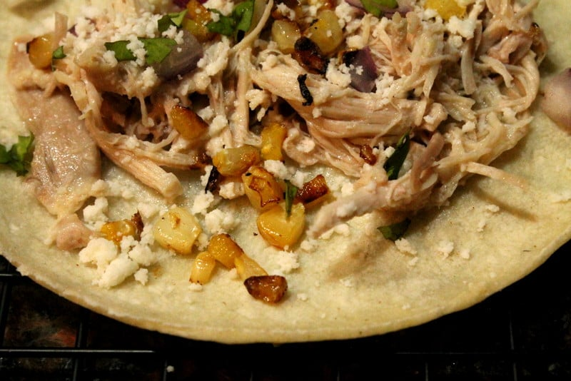 Garlic Lime Chicken and Corn Tacos