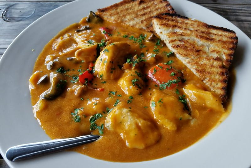 Nail Creek Pub and Brewery Spanish Chicken and Dumplings