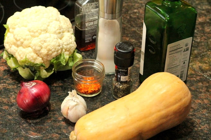 Spicy Sweet Roasted Butternut Squash and Cauliflower Ingredients