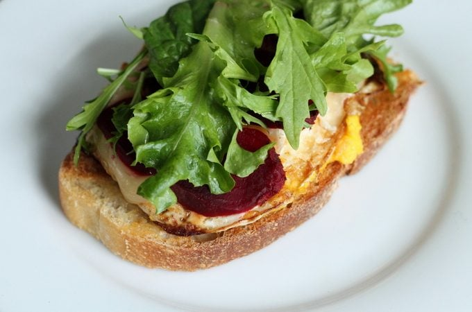 Open-faced Pickled Beet and Brie Egg Sandwich