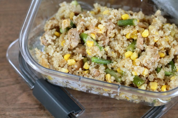 Chicken, Asparagus, and Corn Quinoa Bowl Prep Ahead Lunch