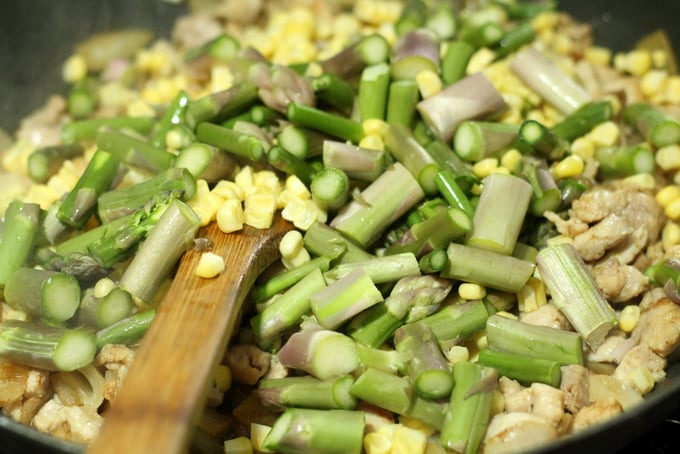 Chicken, Corn, and Asparagus Cooking