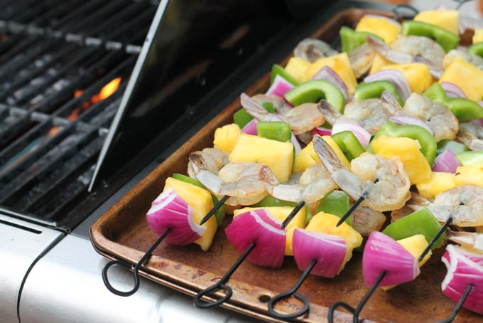 Tropical Shrimp and Pineapple Kebabs by Grill