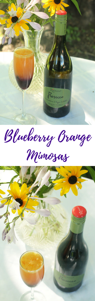 Blueberry Orange Mimosas - an easy brunch cocktail recipe made with Riondo Prosecco.