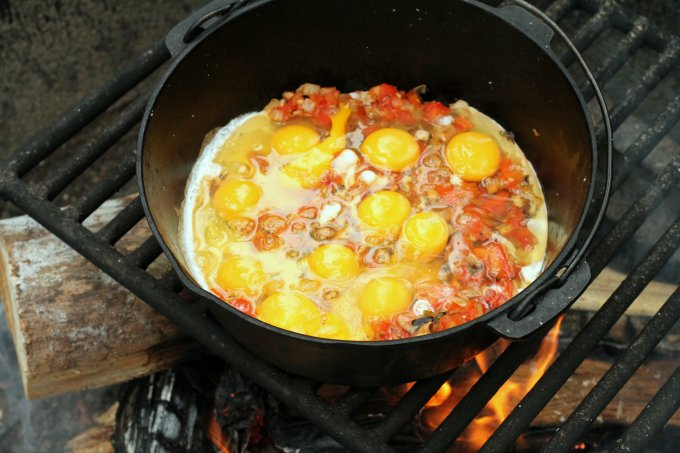 Campfire Salsa Roasted Eggs Cooking